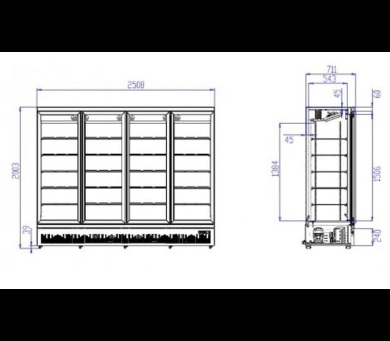 Combisteel Réfrigérateur Noir | 4 Portes en Verre | 2025 Litres | Sur Roues | 2508x710x (H)1997mm