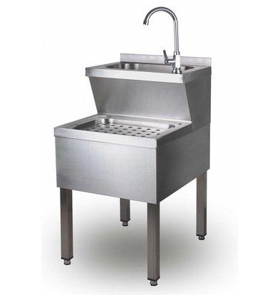 Saro Lave-Mains | Avec mélangeur et siphon | En INOX | 500x700x (H)850mm