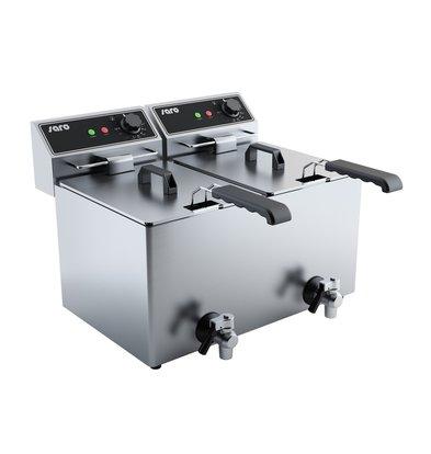 Saro Friteuse électrique 2x8 litres | avec robinet de vidange | 2x 3,25 kW | 590x420x (H) 378mm