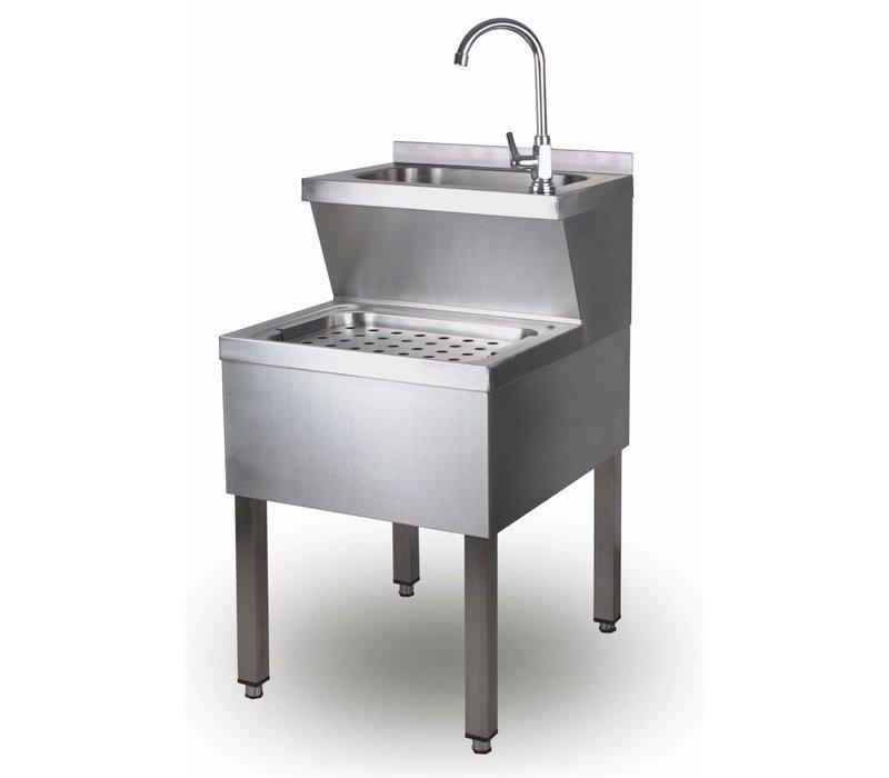 Saro Lave-Mains | Avec mélangeur et siphon | En INOX | 600x500x (H) 850 mm