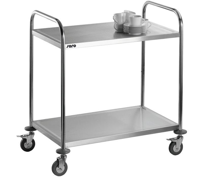 Saro Chariot de Service 2 plateaux | INOX  | 860x540x940 (H)mm