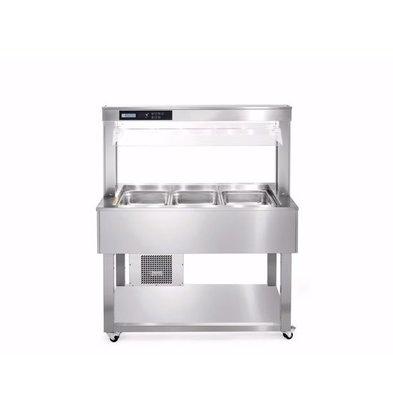 Afinox Buffet Gastronomique | 3/1 GN | En Inox | 1494x650x(H)1326mm