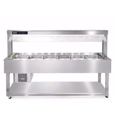 Afinox Buffet Gastronomique | 6/1 GN | En Inox | 2144x650x(H)1326mm