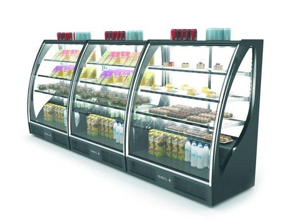 SAYL Vitrine Réfrigérée de Présentation Incurvée | Ouverture à l'Avant | 1015x620x(H)1240mm