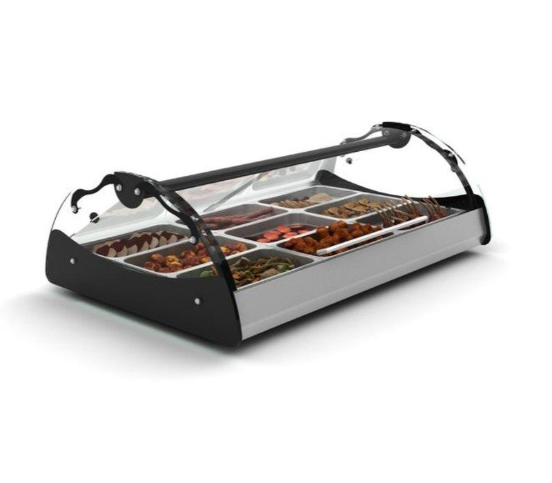 SAYL Vitrine Chauffante Maxiself | Eclairage LED | Convient pour 2x GN 1/1 65mm | Libre Service | 690x650x320mm