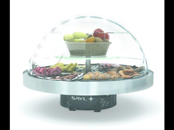 SAYL Présentoir Réfrigéré Rond | Convient pour 8 Plateaux de Buffet | Eclairage LED | 950x950x(H)750mm