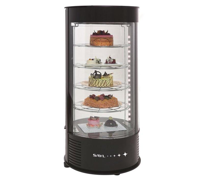 SAYL Vitrine à Pâtisserie Réfrigérée Ronde | 4 Niveaux | 435x435x(H)970mm