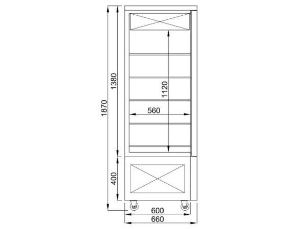 Combisteel Vitrine à Patisserie Réfrigérée | Noire | 400 Litres | 800x660x(H)1870mm