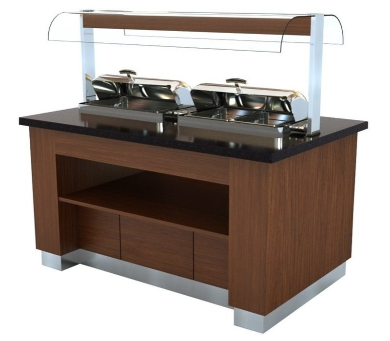 Combisteel Buffet Chaud |Wenge | 2x 1/1GN Chafing Dish | 1600x1000x(H)900/1450mm