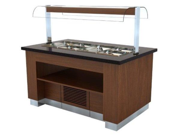 Combisteel Buffet Réfrigéré | Wenge | Voor 100mm Diepe Bakken | 1600x1000x(H)900/1450mm