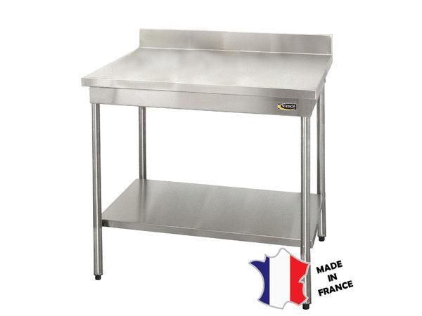 Sofinor Table démontable standard | Inox | à dosseret | avec étagère basse | pieds ronds | 700(l)x700x900mm