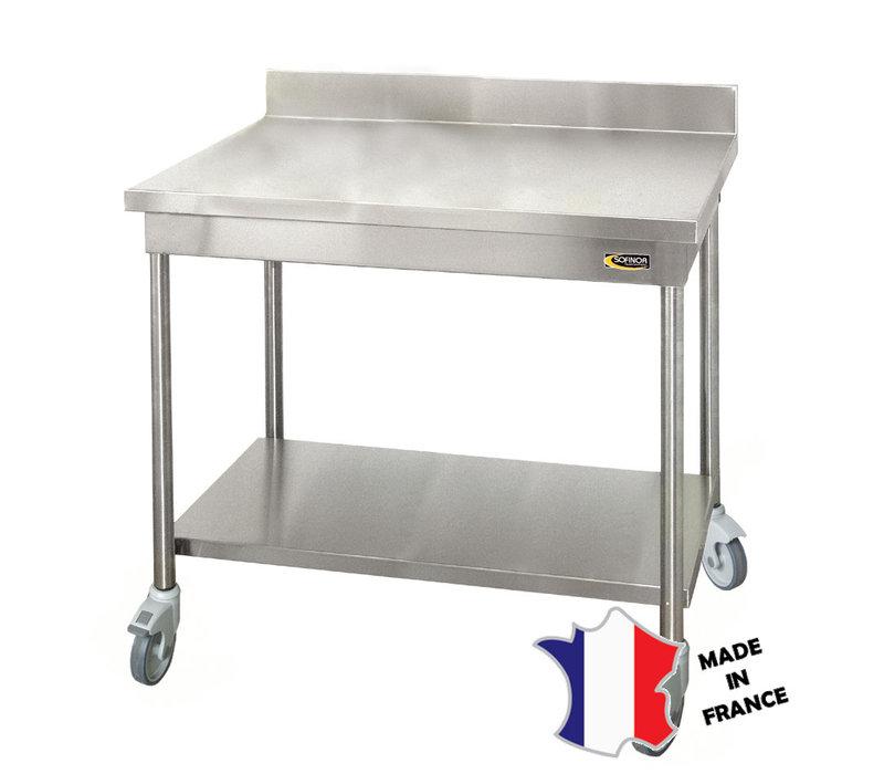 Sofinor Table démontable standard | Inox | à dosseret | avec étagère basse | pieds ronds | 700(l)x700x900mm | sur roulettes polyamide