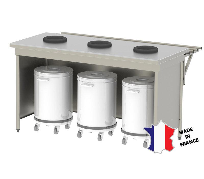 Sofinor Meuble de pré-tri avec 3 trous vide-déchets   1600(l)x700x900mm