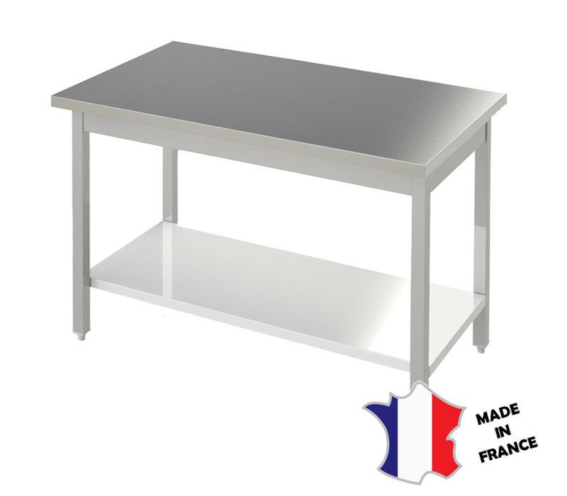 Sofinor Table Démotable | INOX | Étagère Basse | Pieds Carrés | Plusieurs Longueurs