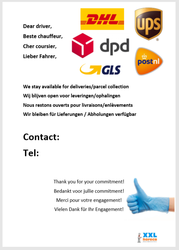 Affiche de disponibilité de livraison - CHRShop.fr