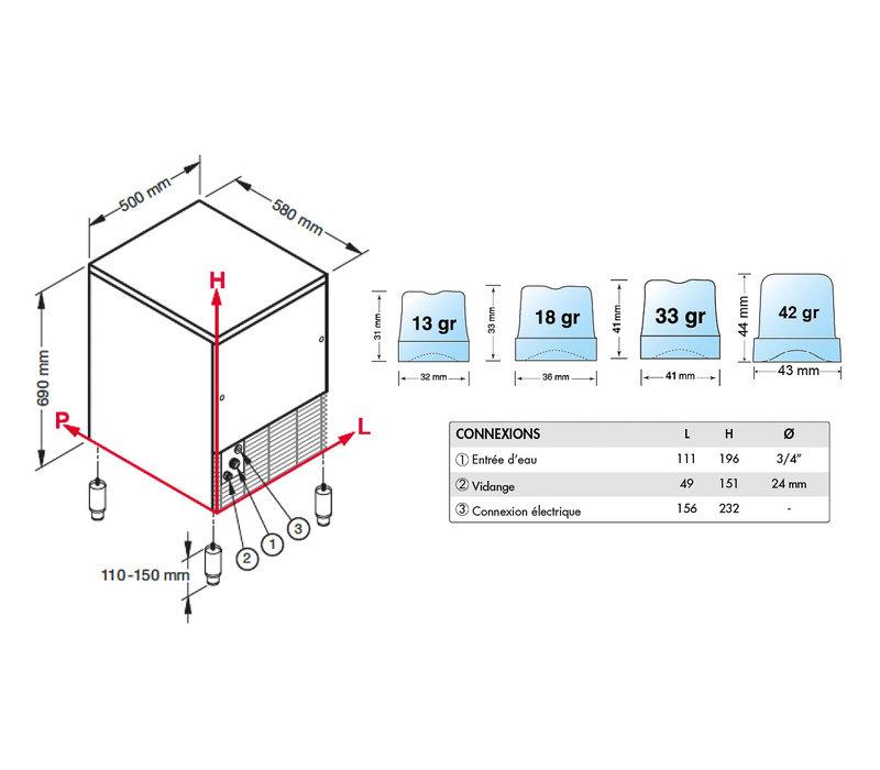 Brema Brema - Machine à Glaçons Cubes | 40 kg/24h | Réserve 16kg | Condenseur Air