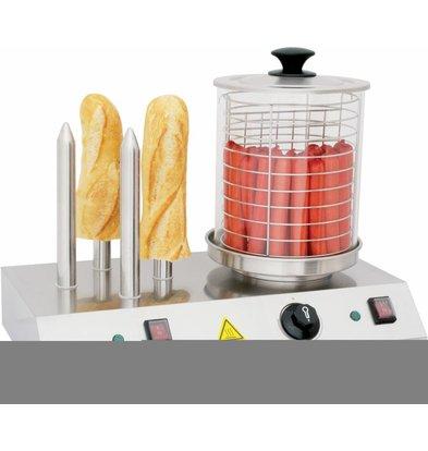 Casselin Appareil à Hot-Dog Électrique Inox | 4 Plots | 500x285x(H)390mm