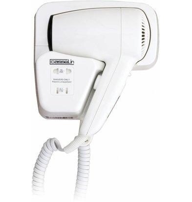 Casselin Sèche-Cheveux Avec Prise Rasoir - ABS Blanc - 2 Vitesses De Séchage - 1200W