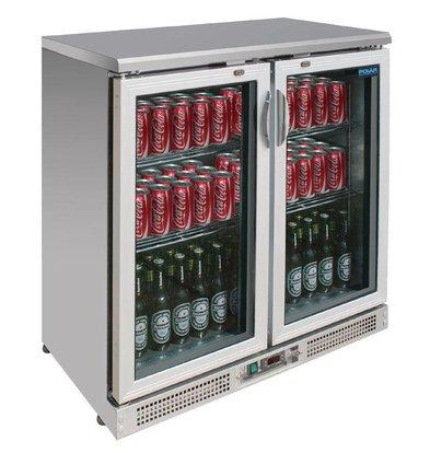 Polar Comptoir de Bar Aluminium | 2 Portes Battantes | Pour 182 Bouteilles | (h)920mm