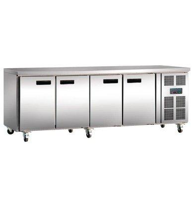 Polar Comptoir Réfrigéré Inox - 4 Portes - 449 Litres - 600(l)x2230(L)x850(h)mm