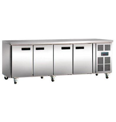 Polar Table Réfrigérée Inox - 4 Portes - 553 Litres - 700(l)x2230(L)x850(h)mm
