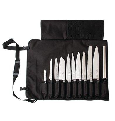 Dick Etui à Couteaux En Tissu Noir + Sangle - 11 Compartiments - Dick