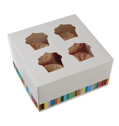 CHRselect Boîtes à 4 Cupcakes | Lot de 4