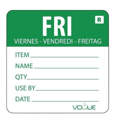 CHRselect Etiquette Code Couleur Vendredi/Vert - 500 Pièces
