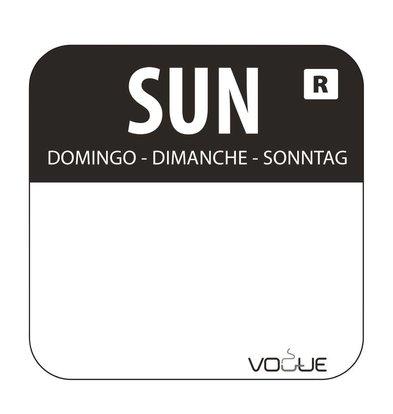 CHRselect Etiquettes Code Couleur - Noir/Dimanche - 24x24mm - 1000 Pièces
