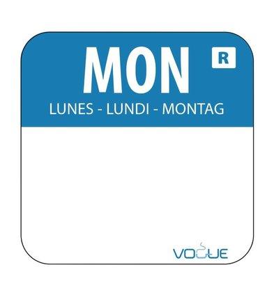 CHRselect Etiquettes Code Couleur - Bleu/Lundi - 24x24mm - 1000 Pièces