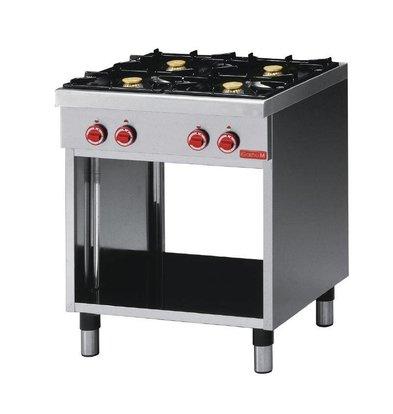 Gastro M Cuisinière à Gaz Inox Sur Baie Ouverte - 4 Feux - Éco CEG 70 - 17,2kW - 700x650x850(H)mm