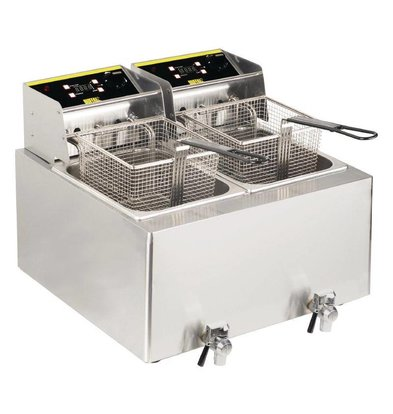 Buffalo Friteuse Double | 2x 8 Litres | 2x 2,9kW/230V | avec Minuterie | 550x595x452(h)mm