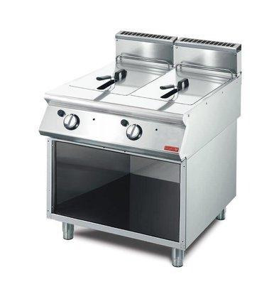 Gastro M Friteuse Gaz Inox + Meuble De Base - 2x 13 Litres - 15kW - 800x700x850(H)mm