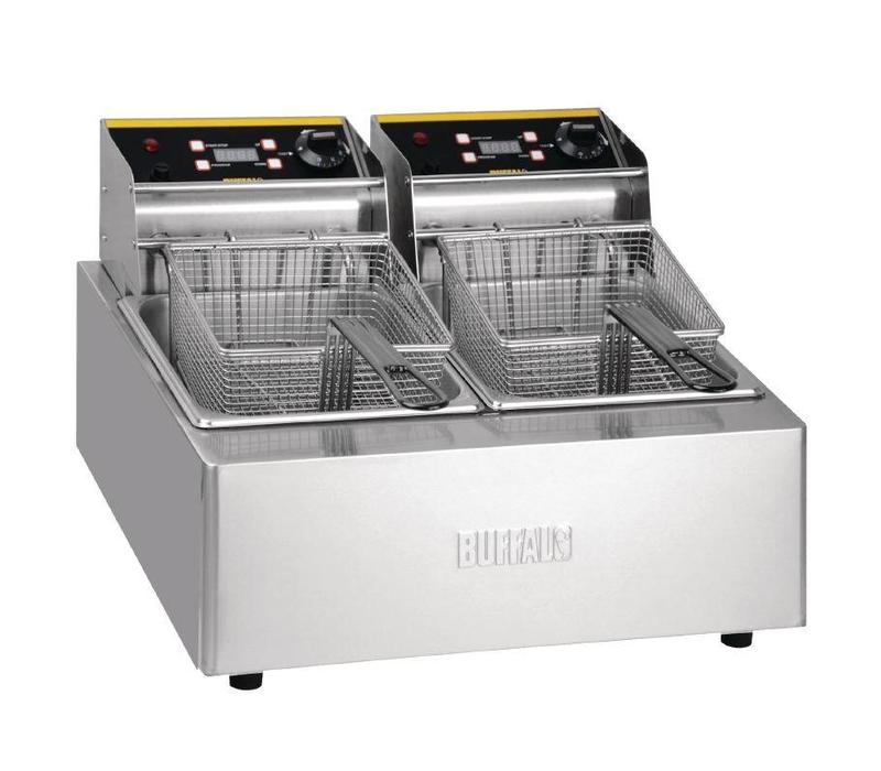 Buffalo Friteuse Double | 2x 5 Litres | Paniers Inclus | 2x 2,8kW/230V | 550x454x352(h)mm