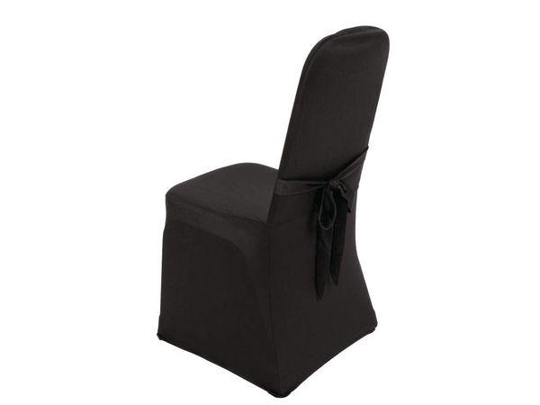 CHRselect Housse De Chaise De Banquet Noire - Jersey Extensible - 100% Polyester