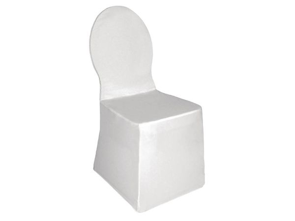 CHRselect Housse De Chaise De Banquet Blanche - Jersey Extensible - 100% Polyester