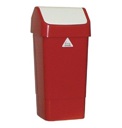 CHRselect Poubelle Rouge + Couvercle Battant - SIR - 50 Litres