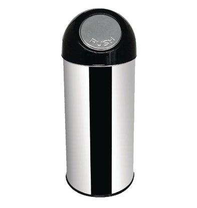 CHRselect Poubelle Ronde Inox + Couvercle Battant - 50 Litres - Ø305x820(H)mm