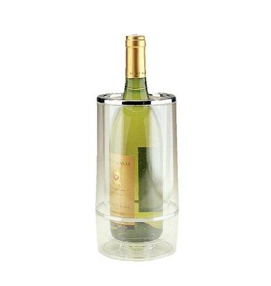 CHRselect Seau à Champagne + Double Paroi Et Bord Chromé - Acrylique Transparent - Ø120mmx230(h)mm