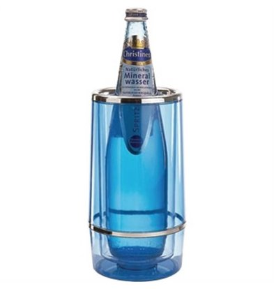 CHRselect Rafraîchisseur à Vin - Acrylique Bleuté Avec Bord Chromé - Ø100x230(h)mm - BOÎTE CADEAU