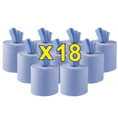 Jantex Rouleaux Bleus Jantex - 2 Plis - à Dévidage Central - Lot de 18