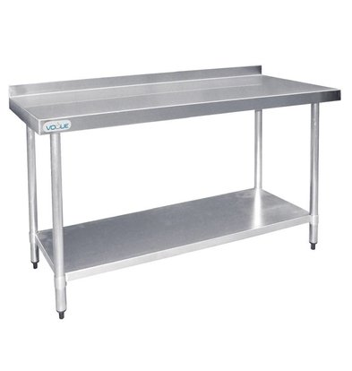 Vogue Table De Travail Inox + Dosseret - 1500(L)mm