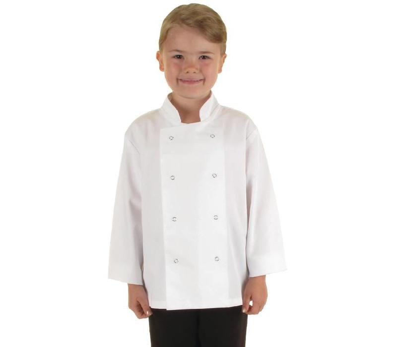 CHRselect Veste Chef Blanche Pour Enfant (8-10 Ans) - Manches Longues - Boutons Pressions