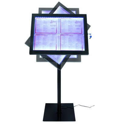 Securit Vitrine dAffichage Menus LED | 4x A4 | Inox Noir | Set COMPLET avec Pied