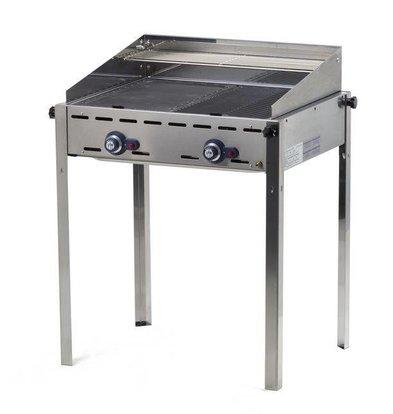 Hendi Barbecue à Gaz Green Fire - 2 Bruleurs - Grille Fonte Émaillée - 740x612x825(h)mm