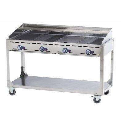 Hendi Barbecue à Gaz Green Fire - 4 Bruleurs - Sur Support Avec Roulettes - 1400x612x825(h)mm
