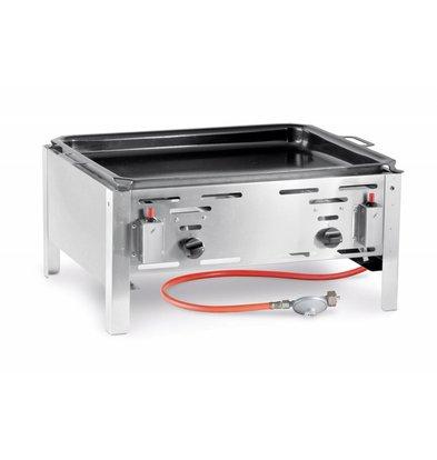 Hendi Bake-Master Maxi Inox - Gaz - Plaque Émaillée - Modèle de Table - Avec Accessoires