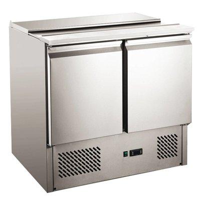Hendi Saladette Inox | 2 Portes | Pour 5x GN1/6 (NON FOURNIS) | 900x690x1100(h)mm