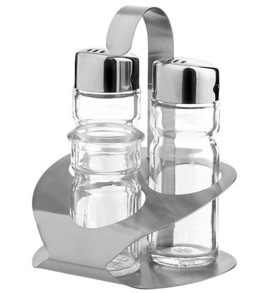 Hendi Ménagère Inox - Set de 3 Pièces: Poivre, Sel, Pot à Cure-Dents - 90x90x115(h)mm