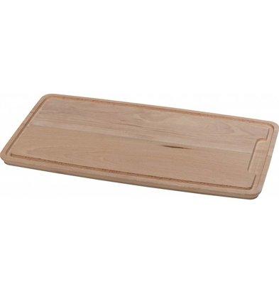 Hendi Planche à Découper la Viande - Hêtre Massif Avec Rigole - 390x230x16(h)mm